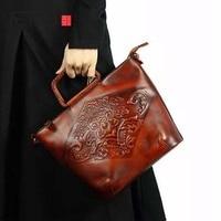 AETOO 2018 new hand brushed female handbag top layer leather portable Messenger bag retro genuine leather bag