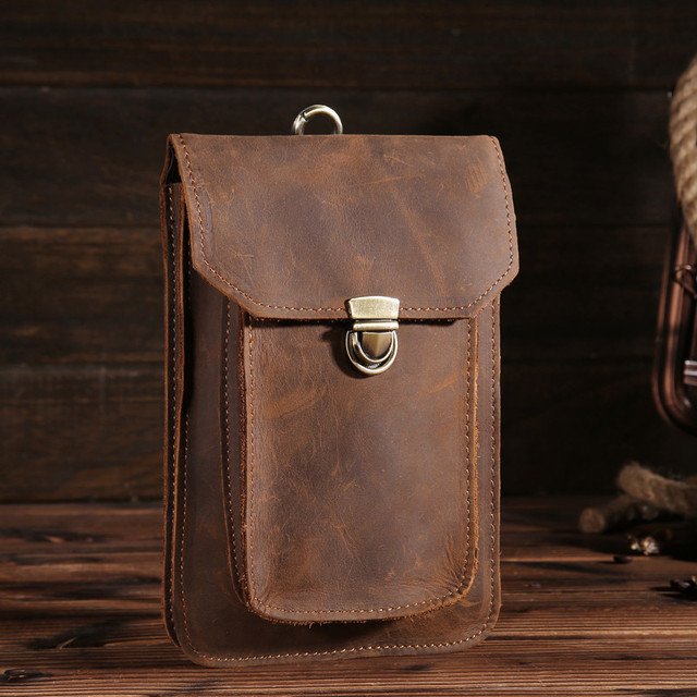 YISHEN Versatile Genuine Cowhide Leather Men Waist Packs Hook Belt Bags For Male Fashion Casual Phone Bags Solid Men Bags B2091