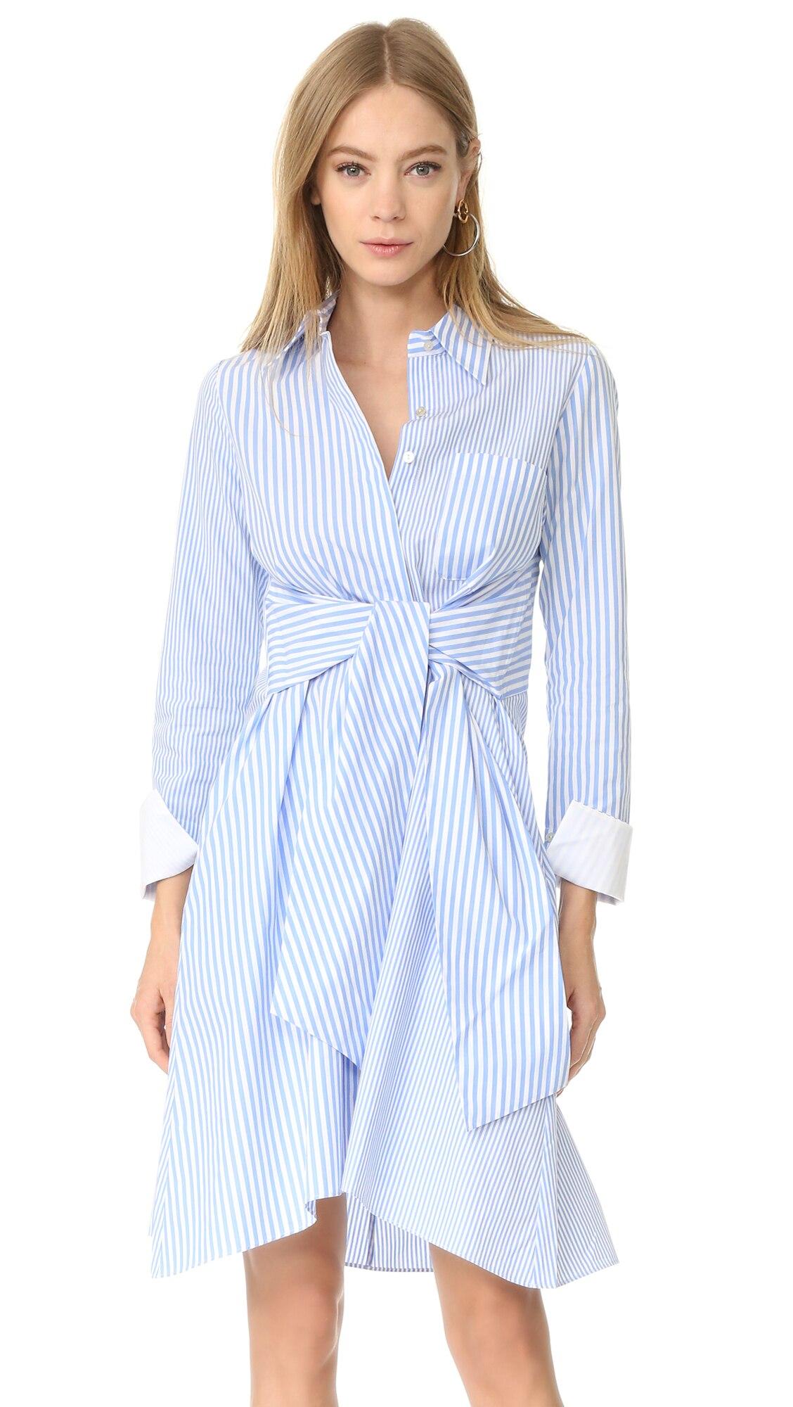 b61cd6a4ec3 PADEGAO New Fashion Woman turn-down collar Asymmetrical Striped Waist Tie  Bow Shirt dress Casual ladies clothes 2018