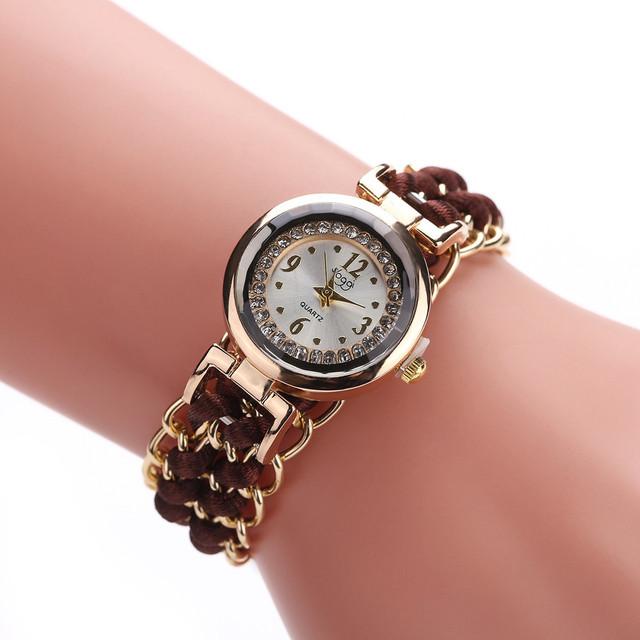 Fashion Leisure High Quality Woman Watch – Knitting Rope Chain Winding Analog Quartz Wrist Watch