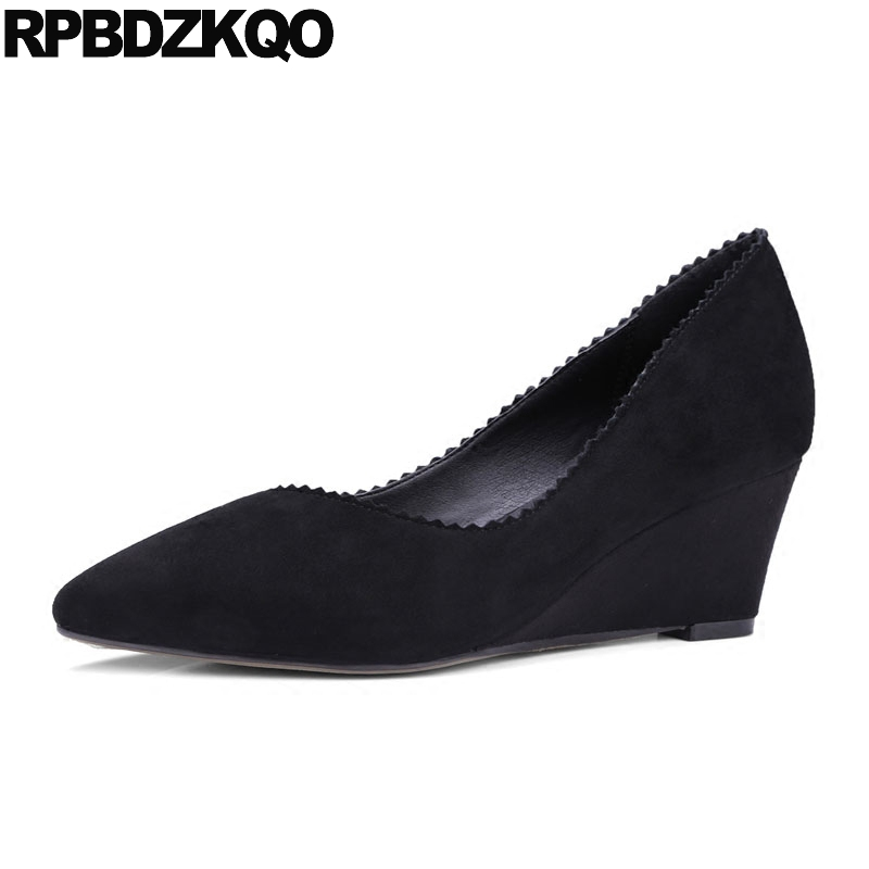 Black High Heels Fashion Women Slip On Size 33 Pointed Toe 10 42 Medium Suede 4 34 Plus Office Wedge Shoes Ladies Pumps Spring ostin джемпер с аппликацией для мальчиков