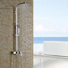 Chrome 8/10/12″ Wall Mount Outdoor Rain Shower Faucet Bathroom single Handle Bath Shower Complete Set Mixer Taps