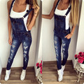 2017 spring and summer hot shoulder belts with holes in jeans women's boutique women's fashion  casual cowboy piece pants A3689