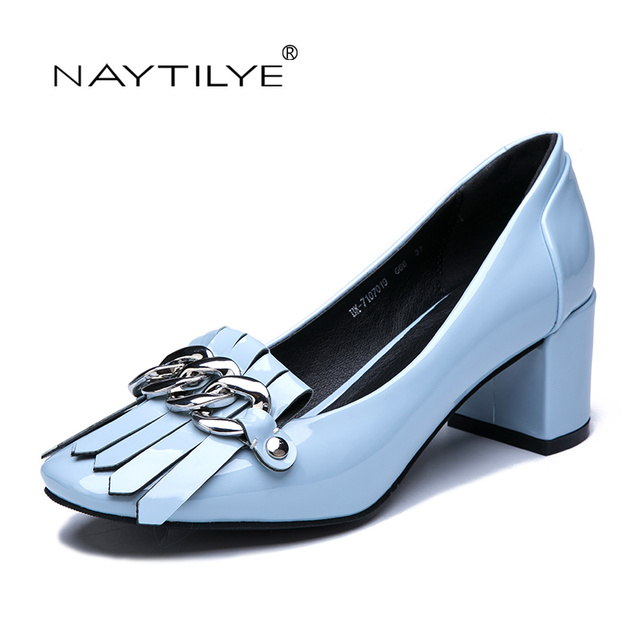 408d18a84987 ECO-leather shoes woman Pu Classic pumps Blue Pink Russian size 36-41 Free