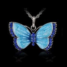 цена на Boho Jewelry Butterfly Pendant Necklace 6 Colors Rhinestone Braided Rope Statement Necklace for Women Crystal Butterfly pendant