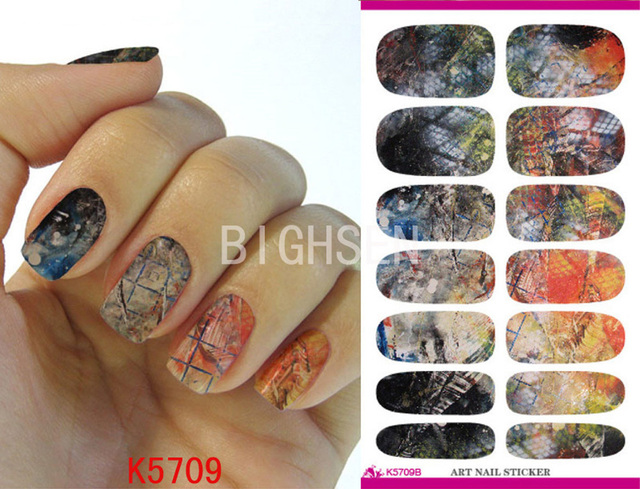 Grid Japanese Nail Stickers Transporting Nail Decoration Full Cover ...