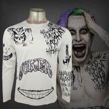 Suicide Squad Рубашки Harley Quinn Джокер Deadshot футболка Татуировки Печать Мужчин футболка С Длинным Рукавом Бэтмен Косплей Top Clothing