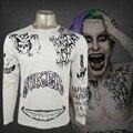 Camisa esquadrão suicida harley quinn deadshot t shirt do tatuagem impressão dos homens de manga comprida camisa coringa batman cosplay top clothing