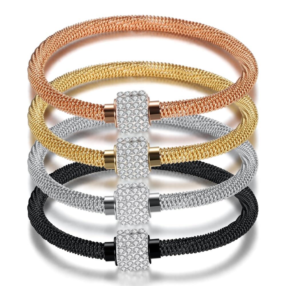 все цены на Fashion High quality Charm Chic valentine Gift Jewelry Stainless Steel Gold Women Distort Bracelets Bangles