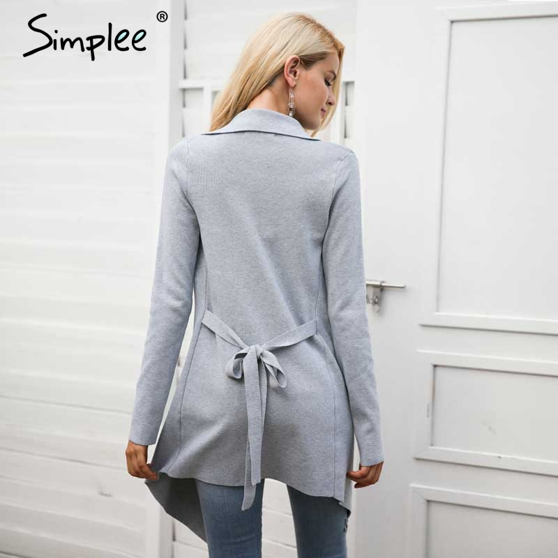 Jumper Women Sash Knitted Cardigan Simplee Winter Sweater Elastic q5R34LcAj