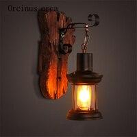American retro коридор Кофе Ресторан сети для прикроватной учебы подсвечник стекло твердой древесины настенный светильник бра декоративный