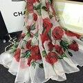 La moda de Nueva Mujeres Soft Mantón de La Bufanda de Seda Toalla de Playa Impresa rosa de Gasa de Flores Wrap Foulard Bufanda Bufandas para Mujer Damas Sjaal