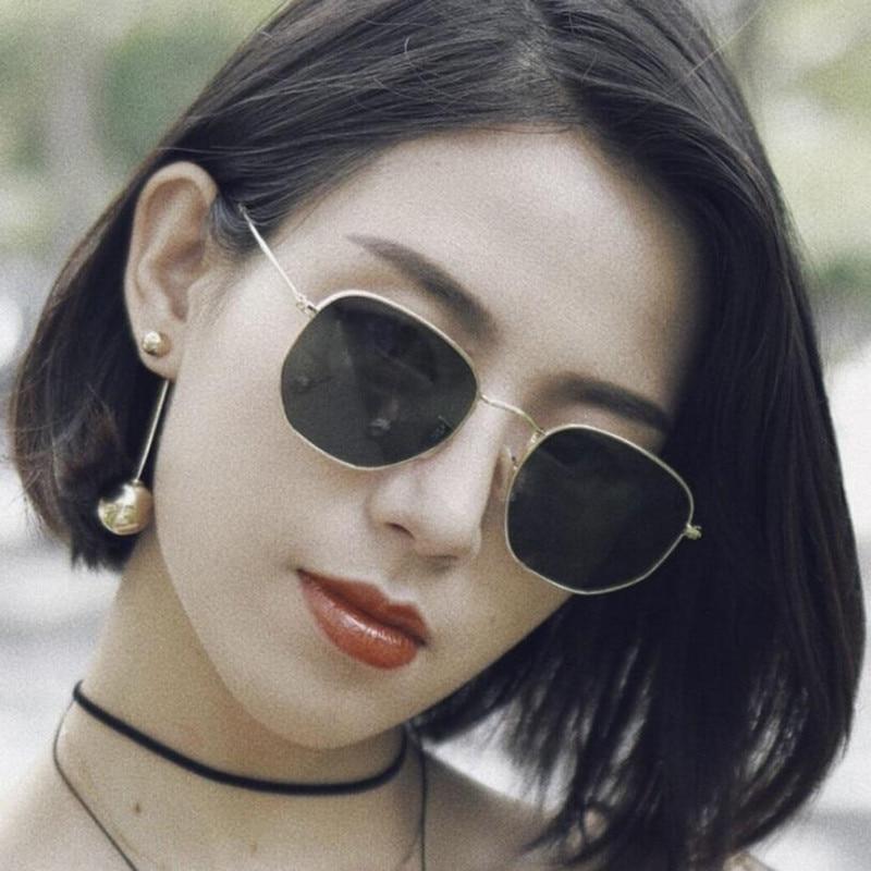 Fashion Sunglasses Women Brand Designer Small Frame Polygon Clear Lens Sunglasses Men Vintage Sun Glasses