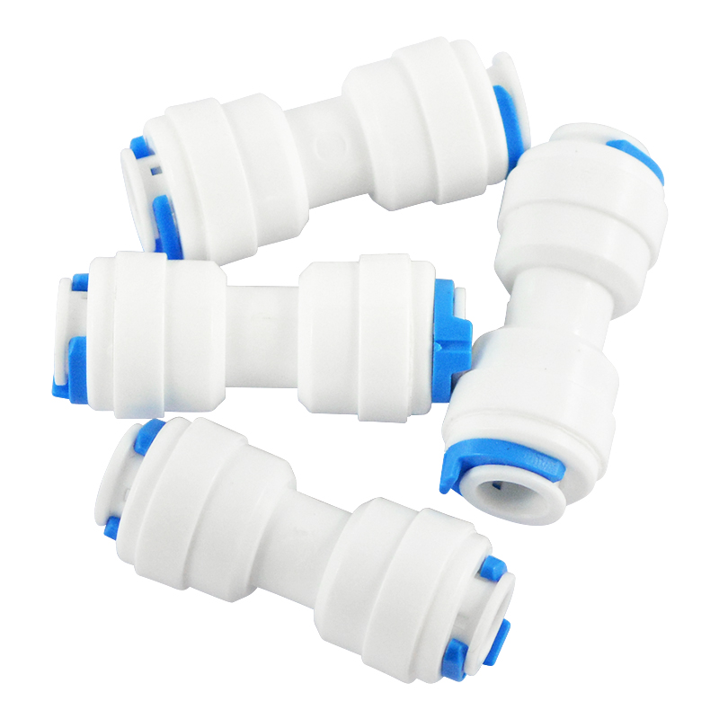 2pcs Pipe Fittings 1/4 inch OD Tube to 1/4 inch OD Tube Quick Connect for Water Filter Parts RO Reverse Osmosis System water dispenser parts 8l connect storage water bottle with float ball connect with 1 4 ro water purifier system