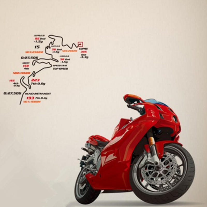 Motorcycle Wall Stickers Part - 24: Motorcycle Wall Stickers Sports U0026 Athletics 3d Vinyl Decals Home Decoration  Living Room Garage Removable Wallpaper