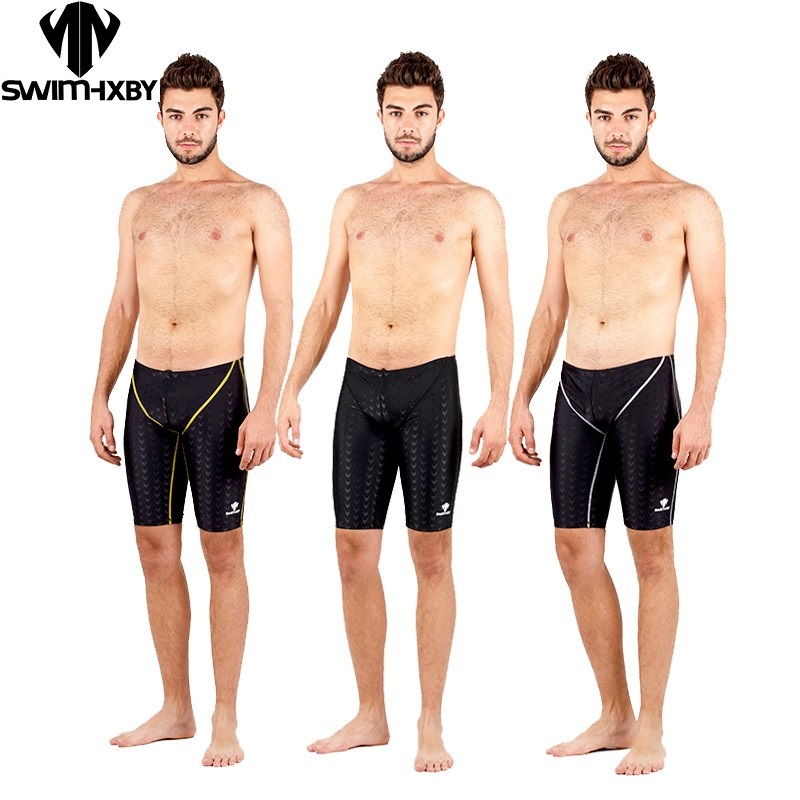 HXBY Sharkskin  Swimming Jammer Men Boys Swimwear Shorts Solid Jammer Swimsuit Board Surf Shorts Professional Men Plus Size 5XL