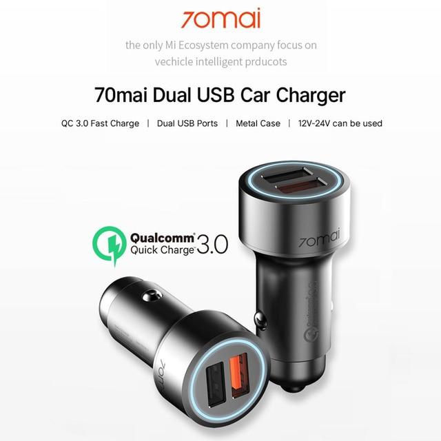 70mai Quick Car Lading QC3.0 Auto Snel Opladen voor Xiaomi Dual USB draagbare Telefoon Opladers Voor iphone 7 8 X Samsung s10 etc