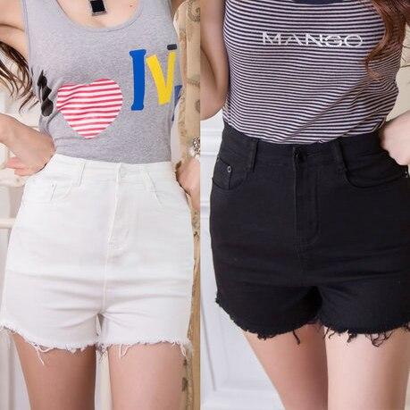 2016 Plus Size Women Denim Shorts Sexy Hot Short Jeans Shorts High Waist Feminino Black White CutOff Shorts Women Blue XL T5265
