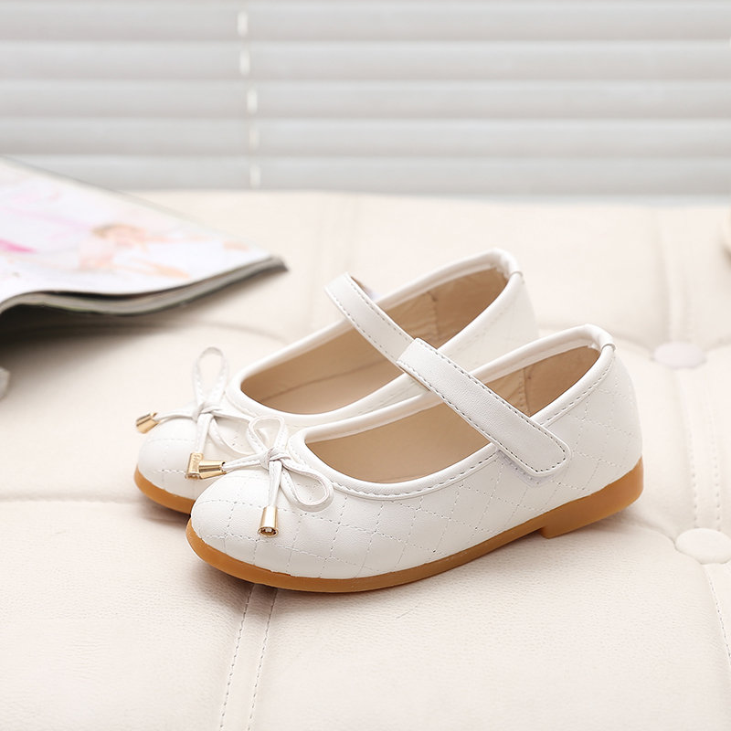 Fashion Bow Children Shoes Girls Princess Leather Shoes 2017 Spring Party Girls Shoes Students Dance Shoes Kids Flats Sandals