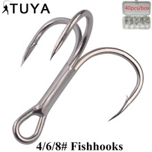 Treble Hooks 40 copë Super Sharp i ngurtë Triple Grepa Peshkimi me gjemba Hook High Carbon Steelh Fishhooks 4/6/8 #