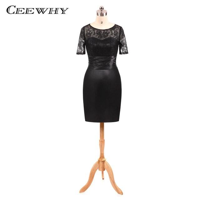 bfb2db3b660f8 CEEWHY Short Sleeve Little Black Dresses Formal Party Dress Vestidos de  Coctel Short Cocktail Dress Trumpet Mermaid Party Gown