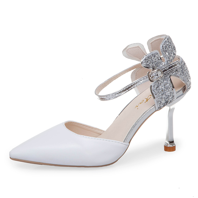 Rimocy elegant ladies silver glitter hollow out floral pumps 2019 summer autumn pointed toe ankle strap high heels party shoesRimocy elegant ladies silver glitter hollow out floral pumps 2019 summer autumn pointed toe ankle strap high heels party shoes