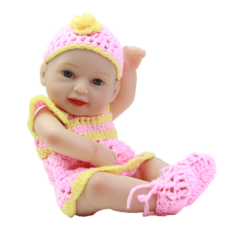 Tiny Girl Baby Doll 11 Inch Full Body Silicone Vinyl Reborn Dolls Gentle Touch Smiling Princess Girls Kids New Year Gift