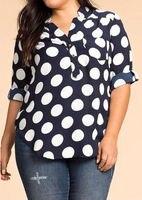 Fashion Women Polka Dot Blouse Shirt Tops 2017 Summer Half Sleeve Casual Blouse Loose Tops Navy