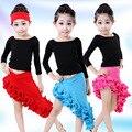 Crianças Vestido de Dança Latina Folha de Lótus Saia Meninas Tutu Vestido de Dança De Salão Latina Salsa Dança Fantasias para Crianças