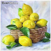 EverShine Frutas Pintura Diamante Diamante Bordado Conjunto Completo Diamante Mosaic Imagens De Strass Decoração Da Cozinha De Limão