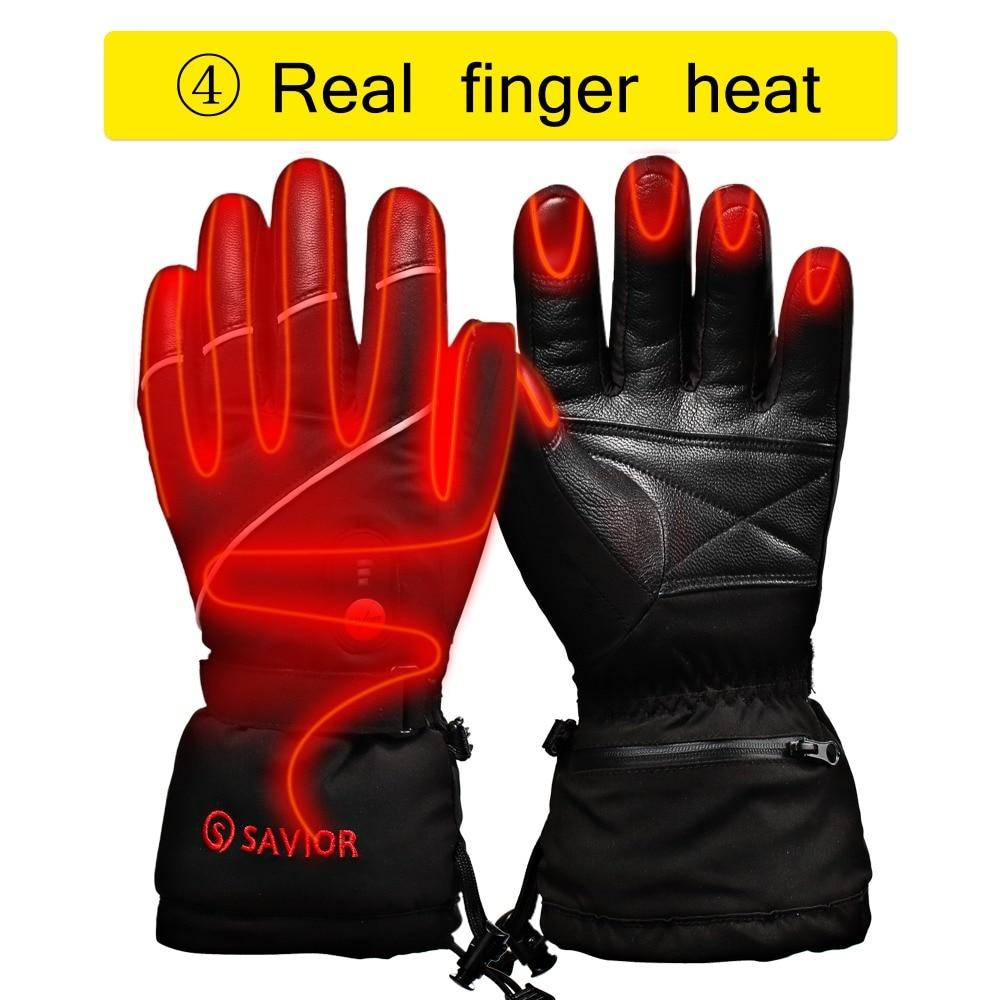 Guantes de esquí de invierno con batería eléctrica de calor SHGS15, guantes de pesca de esquí de invierno, guantes de cuero de 3 niveles para hombres y mujeres DHL - 5