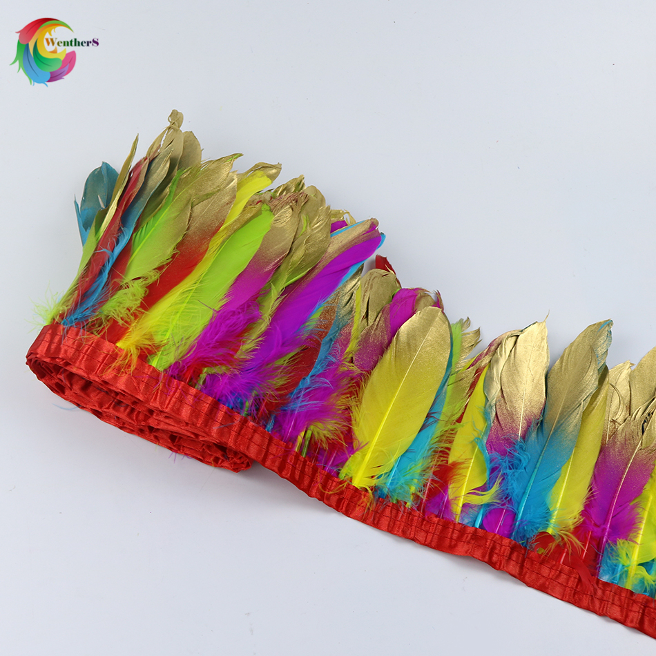 Multicolor Dipped gold Goose feather ribbons Height 15-20cm feathers for Craft Wedding Carnival Skirt plume decoration
