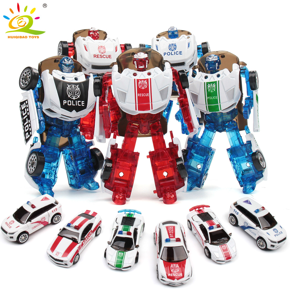 8cm Mini Police Transformation Alloy Metal Robots Car Deformation Anime Action Figures Toys For Children Kids Boys Gifts 8style