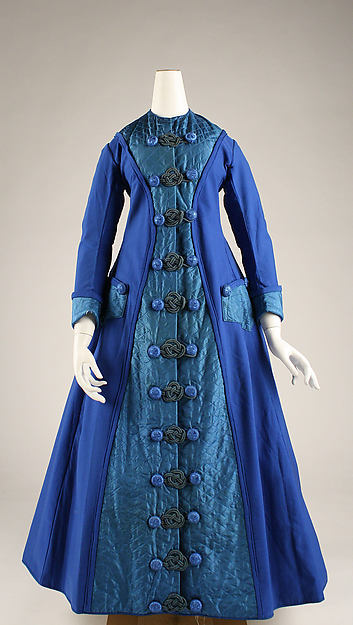Early 1870s Royal Blue Cotton Long Dressing Gown
