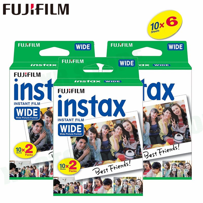 60 películas Fujifilm Instax Wide Instant White Edge para Fuji Cámara 100 200 300 210 500AF Lomography foto