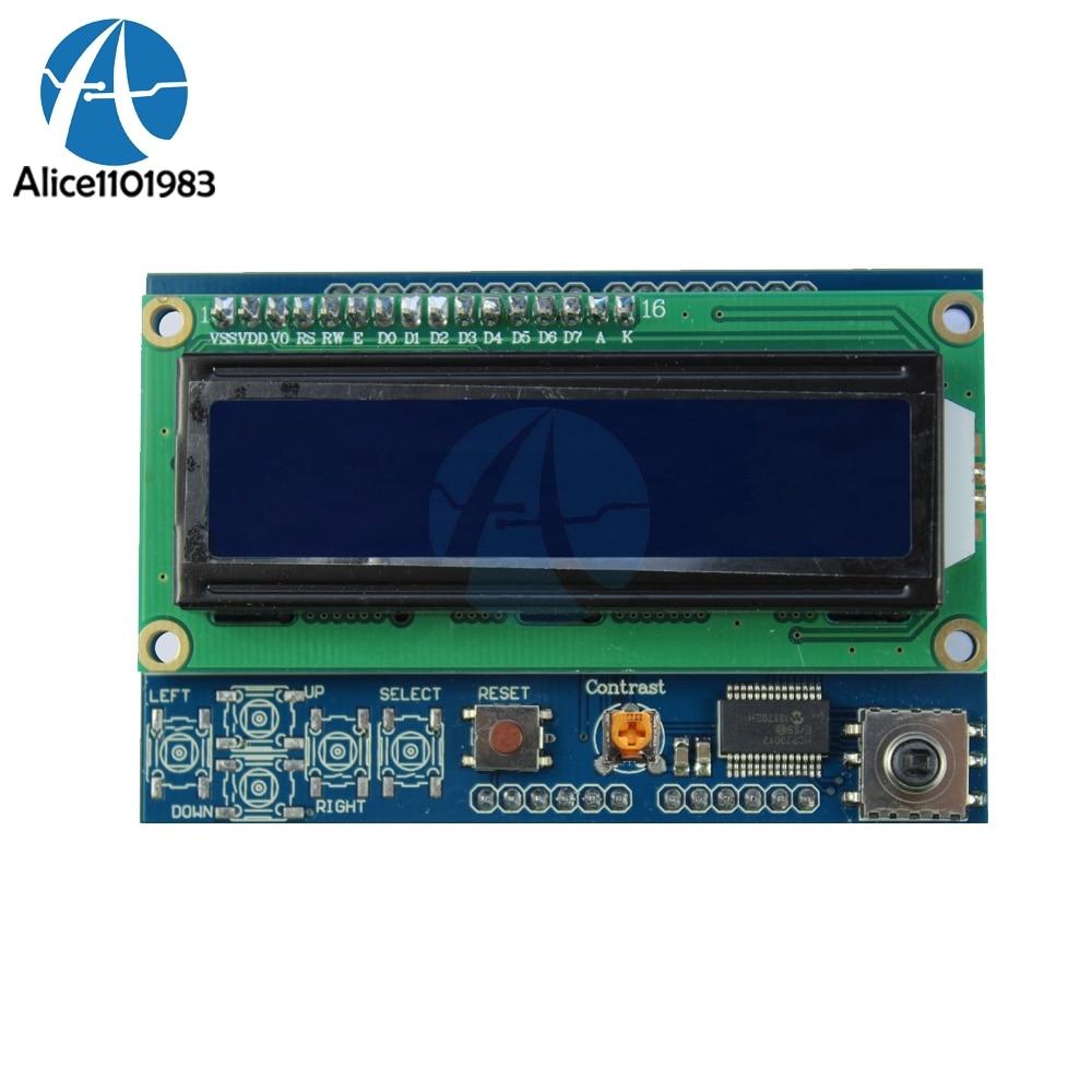 Brightness Adjustable 1602LCD 1602 LCD Shiled IIC I2C MCP23017 5 Keypad 16x2 Character LCD Display Module For Arduino UNO
