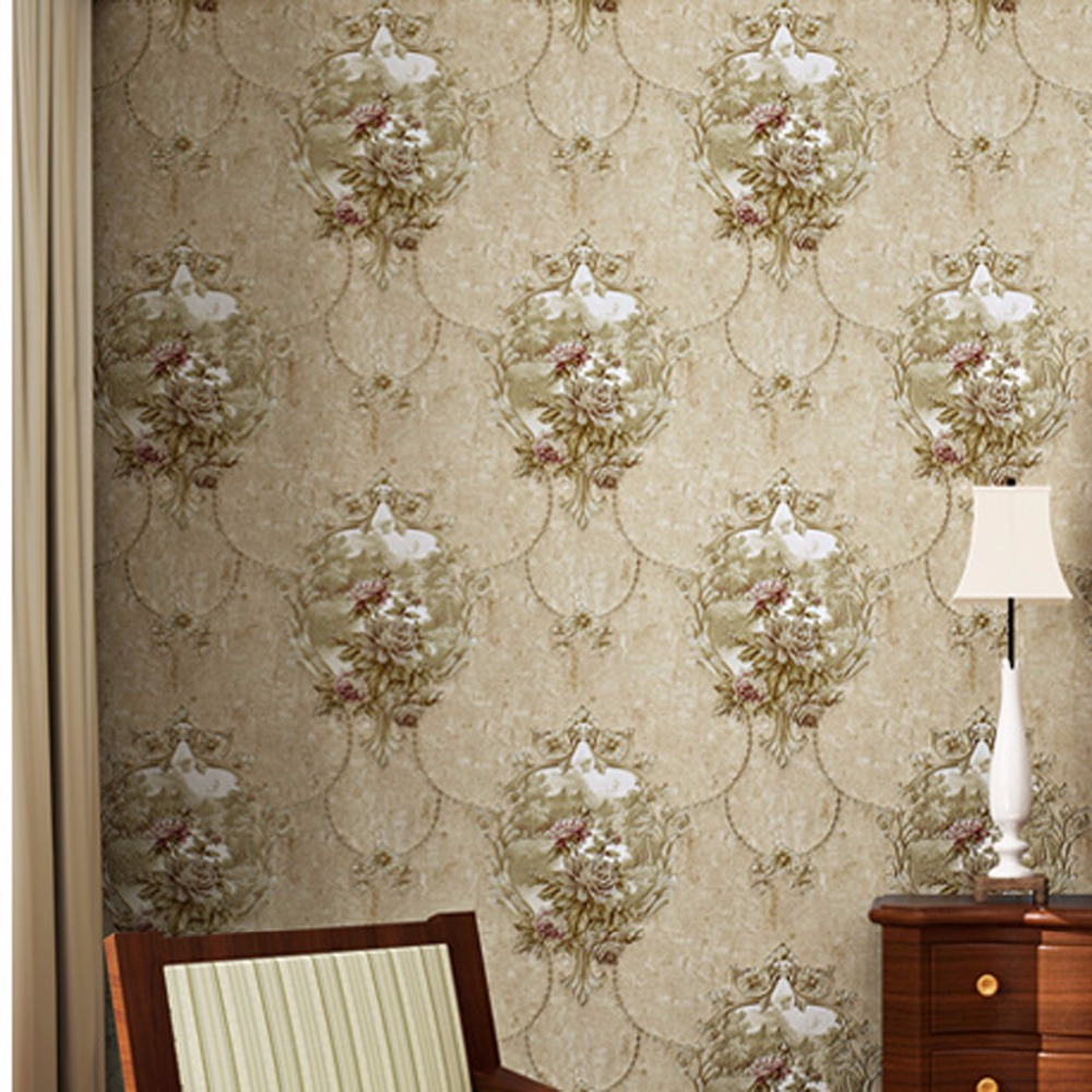 beibehang European retro mirror flowers pastoral nonwovens do the old wall 3D stereoscopic relief wallpaper beibehang european pastoral flowers
