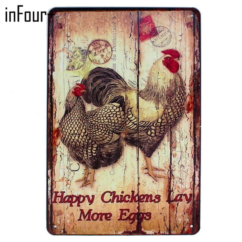 [inFour+] Happy Lay More Eggs Metal Signs Home Decor Vintage Tin Signs Pub Vintage Decorative Plates Metal Wall Art Plaques
