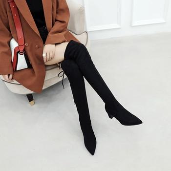Tamanho 33-43 Novo 2019 Sobre o Joelho Coxa Plataforma Botas Altas Botas de Camurça Do Falso Das Mulheres Estiramento Magro Sexy senhoras Botas de Inverno das Mulheres