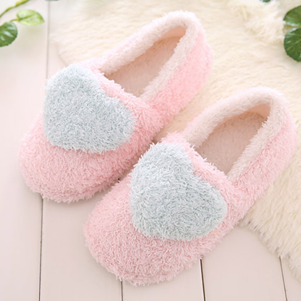 Lovely Ladies Indoor Cute Pink Fluffy Slippers