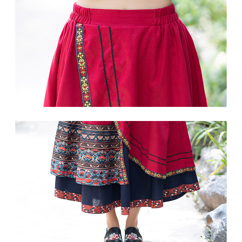 2019 Spring and Summer New Novel National Style Cotton and Linen Floral Irregular Stitching Midi Skirt Long Print Skirts Womens-in Skirts from Women's Clothing    3