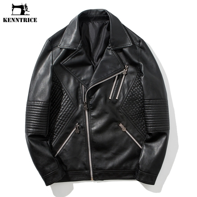 06e66a71b US $45.89 49% OFF|KENNTRICE Pilot Leather Jacket Mens Leather Bomber  Jackets Black Faux Leather Jacket Men Autumn Winter Coat Male Hip Hop  Style-in ...