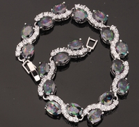 Enchanting Mystic Rainbow Topaz 925 Sterling Silver Trendy Overlay Link Chain Bracelet 7 8 Inch For