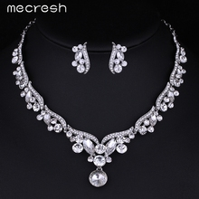 Mecresh Color de la Hoja de Plata Cristal de Boda Rhinestone Nupcial Aretes Collar de Conjuntos de Joyas de Oro Establece para Las Mujeres TL201
