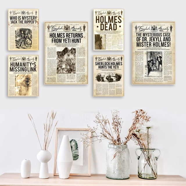 sherlock holmes hunts the yeti holmes dead newspaper multiple series poster art painting wall pictures home decorative