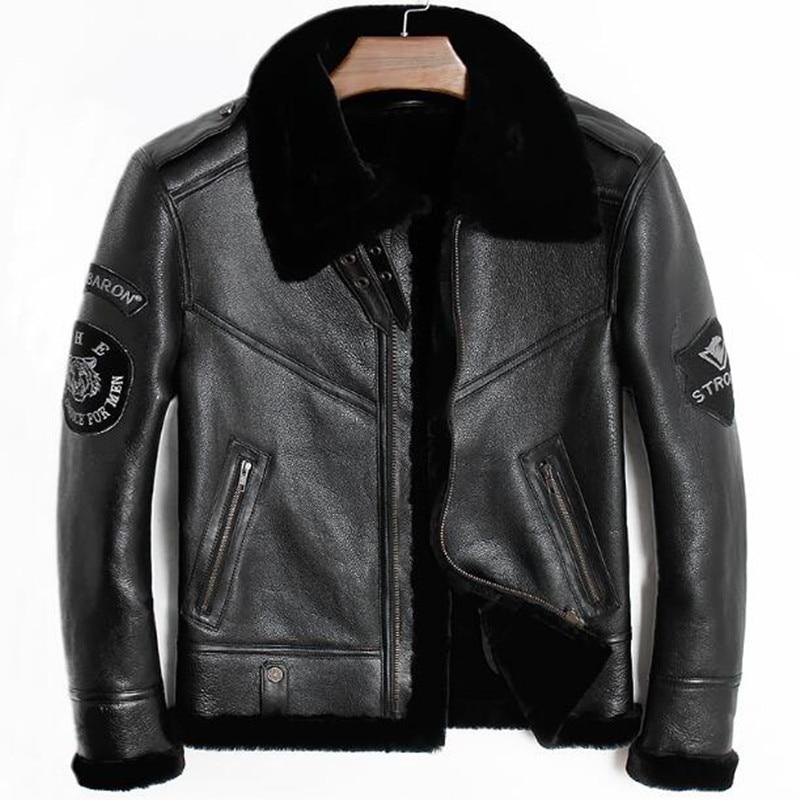 64201e272 Big Sale] 2019 Black Men Military Pilot Shearling Jacket Plus Size ...
