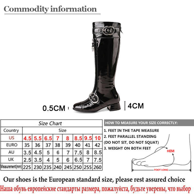 Gdgydh Hakiki Deri Diz Yüksek Çizmeler Kadınlar Seksi Toka Kauçuk Taban Patent Deri Kışlık Botlar Kadın parti ayakkabıları Artı Boyutu
