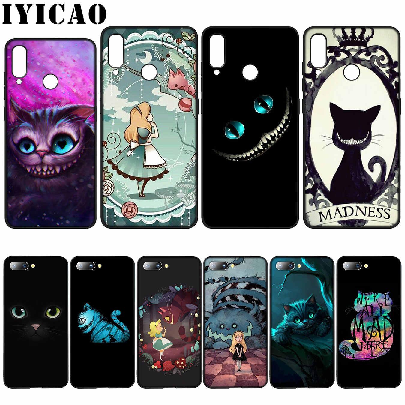 IYICAO Cheshire Cat Silicone Soft Case for Huawei Y7 Y6 Prime Y9 2018 Honor 8C 8X 8 9 10 Lite 6A 7C 7X 7A Pro