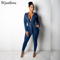 Wjustforu Sexy Bodycon Denim Jumpsuit Women Long Sleeve Zipper Bandage Bodysuit Elegant Party Club Wear Casual Jumpsuit Female