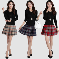 2017 autumn and winter new Slim lattice underwear two sets of thin knitted wool dress